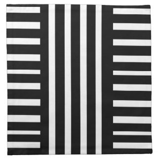 Black and White Stripes/Abstract Cloth Napkin