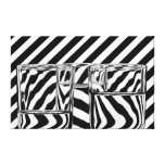Black and White Stripes Abstract Glasses Canvas Gallery Wrap Canvas