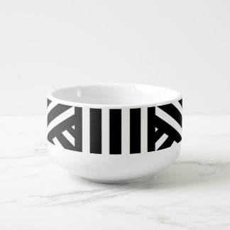 Black and White Stripes/Abstract Soup Mug
