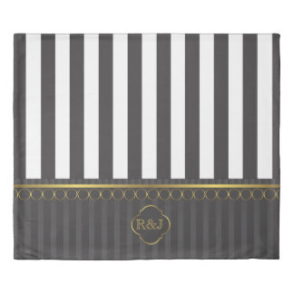 Black and white stripes and gold trim duvet cover