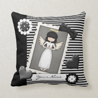 Black and White Stripes,  Angel and Embellishments Throw Pillow