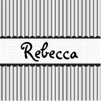 Black and White Stripes Dots Scallops Personalized Standing Photo Sculpture