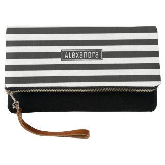 Black and White Stripes Elegant Chic | Custom Name Clutch