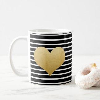 Black And White Stripes |  Faux Gold Foil Heart Coffee Mug