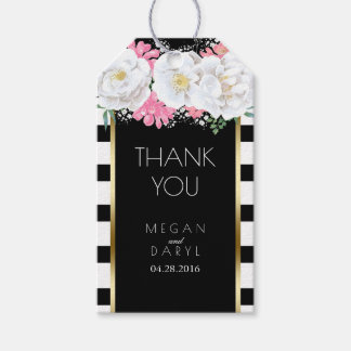 Black and White Stripes Floral Vintage Gold Frame Pack Of Gift Tags