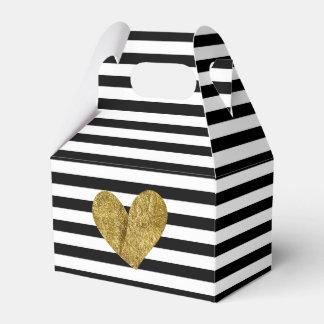 Black and White Stripes Gold Heart Favor Box