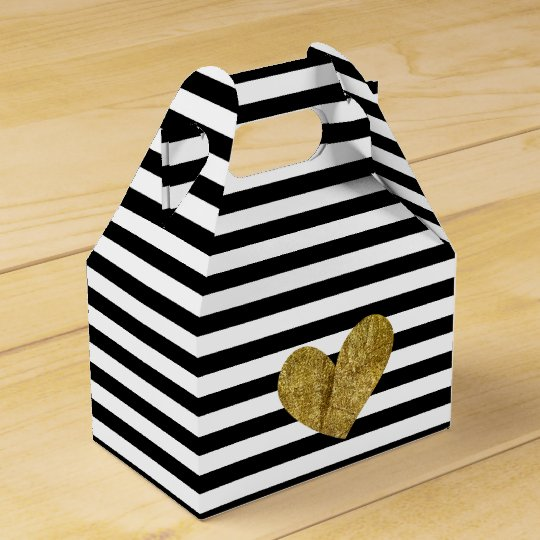Black and White Stripes Gold Heart Favor Box