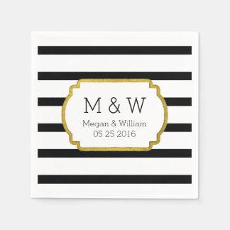 Black and White Stripes Gold Wedding Napkins Disposable Napkins