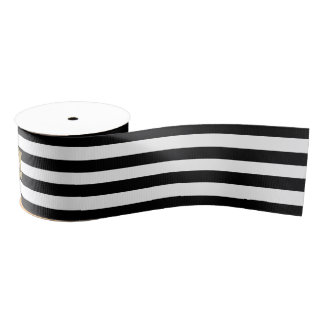 Black and white stripes grosgrain ribbon