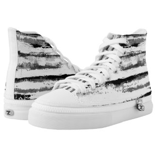 Black and White Stripes High Tops Snow Tiger