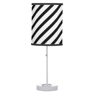 Black and white stripes linen table lamp