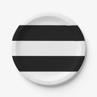 Black and White Stripes Modern Paper Plate