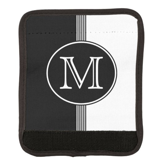 Black and White Stripes Monogram Luggage Handle Wrap