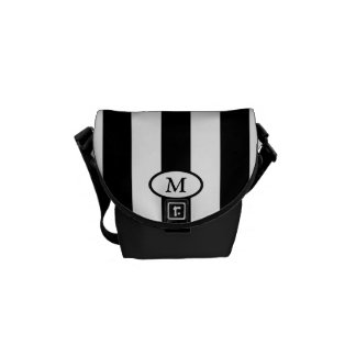 Black and White Stripes - Monogram Messenger Bag
