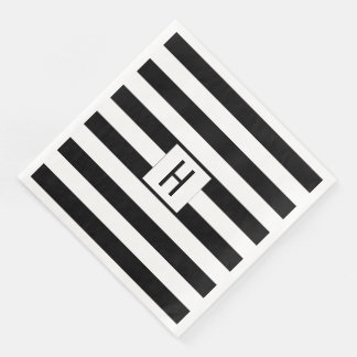 Black and White Stripes Monogram Paper Napkins