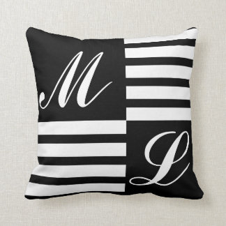 Black and White Stripes Monogram Throw Pillow