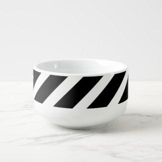 Black and White Stripes on Soup Mug