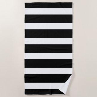 Black and White Stripes Pattern Beach Towel
