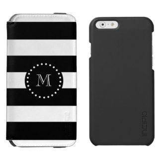 Black and White Stripes Pattern, Black Monogram Incipio Watson™ iPhone 6 Wallet Case