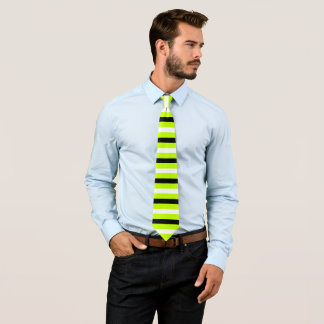 Black and White Stripes Pattern Modern Lime Tie
