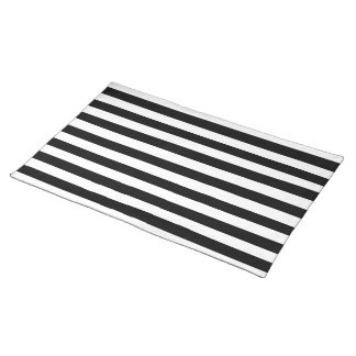 Black and White Stripes Pattern Placemat