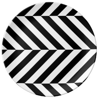 Black and white stripes pattern plate