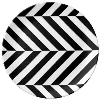 Black and white stripes pattern porcelain plates