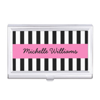Black and white stripes pink personalized name business card holder