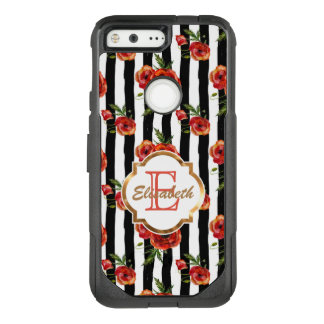 Black and White Stripes, Red Roses Name & Monogram OtterBox Commuter Google Pixel Case