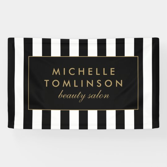 Black and White Stripes Salon Banner