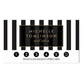 Black and White Stripes Salon Loyalty Card Business Card