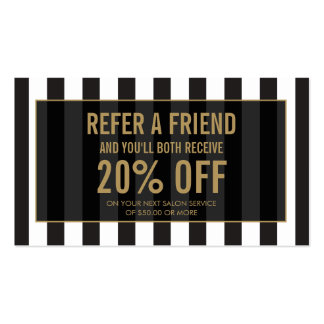 Black and White Stripes Salon Referral Card Pack Of Standard Business Cards