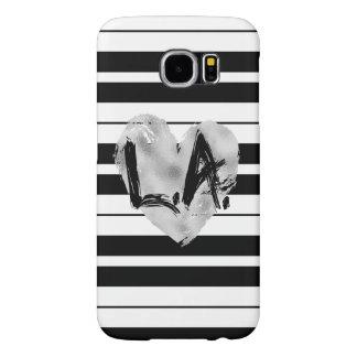 Black and White Stripes, Silver LA Samsung Galaxy S6 Cases
