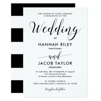 Black and White Stripes Wedding Card