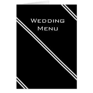 Black and white stripes Wedding menu Card