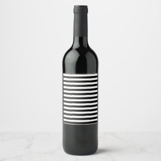 Black and White Stripes Wine Label
