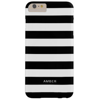 Black and White Stripes With Custom Name Barely There iPhone 6 Plus Case