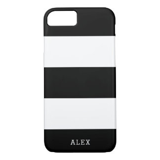 Black and White Stripes With Custom Name iPhone 8/7 Case