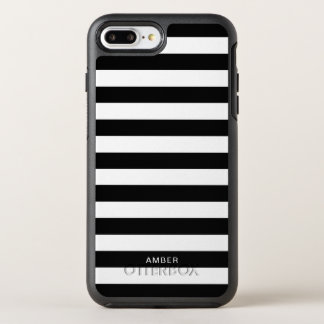 Black and White Stripes With Custom Name OtterBox Symmetry iPhone 8 Plus/7 Plus Case