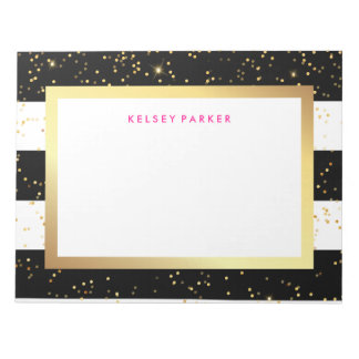 Black and White Stripes with Faux Gold Confetti Notepads