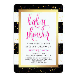 """Black and White Stripes with Gold Baby Shower 5"""" X 7"""" Invitation Card"""