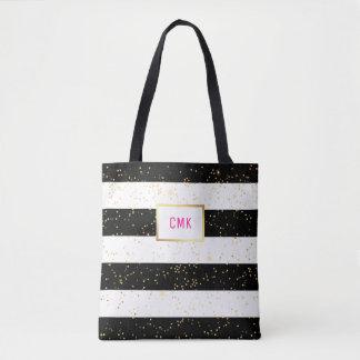 Black and White Stripes with Gold Confetti Tote Bag