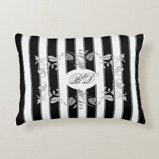 Black and White Stripes With Gray Leaves Accent Pillow