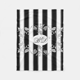Black and White Stripes With Gray Leaves Fleece Blanket