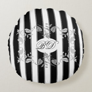Black and White Stripes With Gray Leaves Round Pillow
