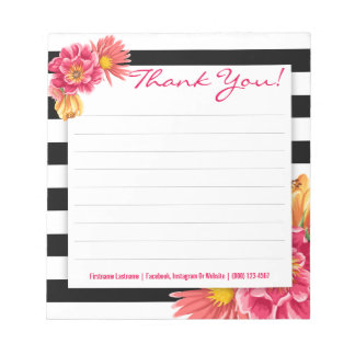 Black and White Stripes with Pink Flowers Notepad