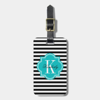 Black and White Stripes with Teal Monogram Bag Tag
