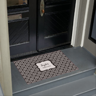Black and White stylish damask personalized Doormat