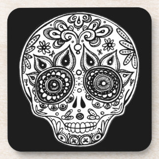 Black and White Sugar Skull Coasters - Set of 6
