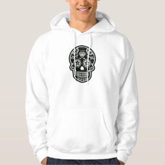 Black and White Sugar Skull Diamond Hoodie
